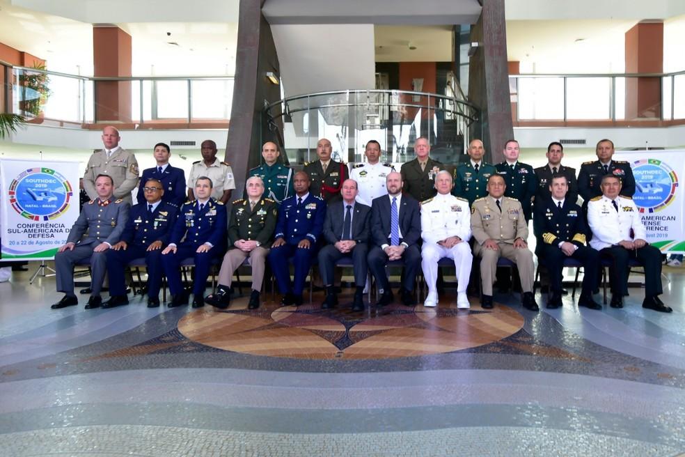 Chefes de Estado Maior da América do Sul e Comando Sul dos EUA reunidos em Natal, no Rio Grande do Norte — Foto: Pedro Vitorino