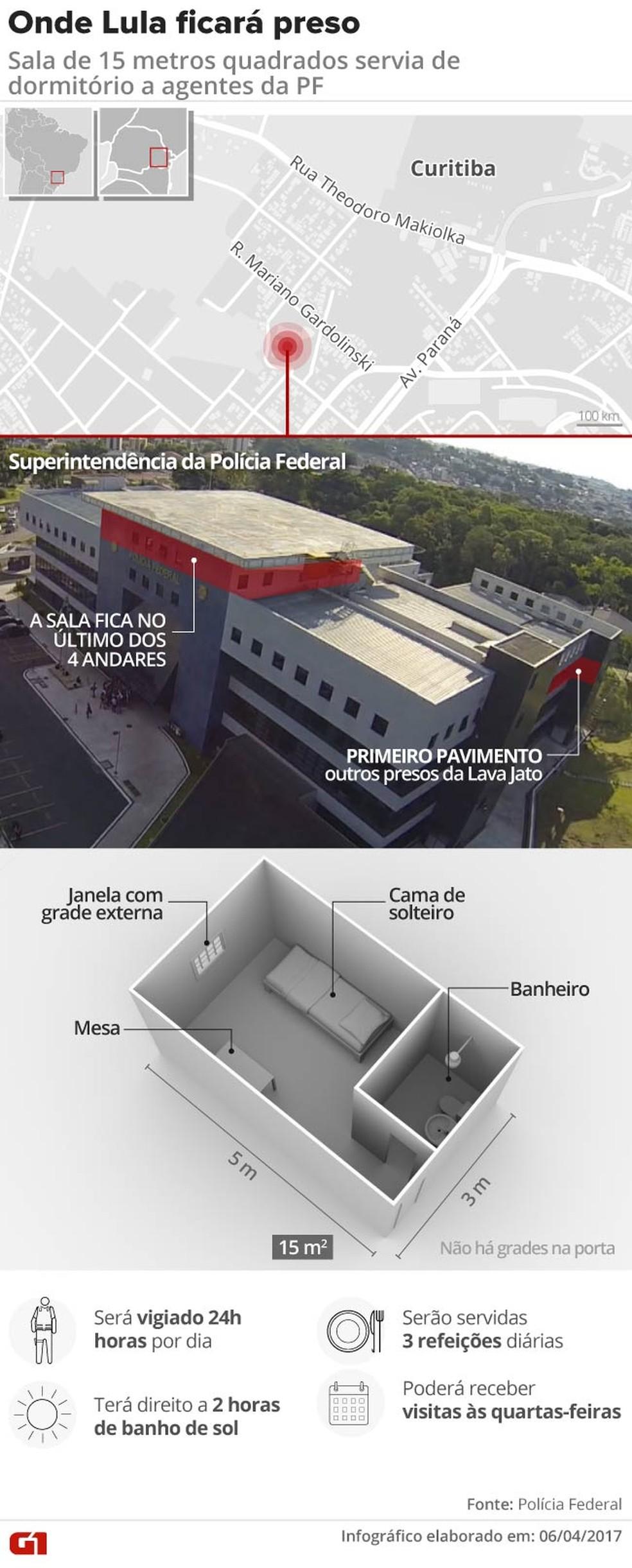 Sala especial em que o ex-presidente Lula ficará preso, na sede da PF em Curitiba (Foto: Infográfico: Rodrigo Cunha/G1)