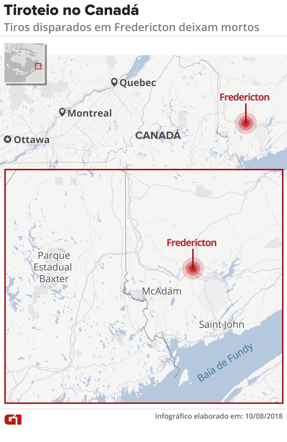 Tiroteio deixa mortos em Fredericton, no Canadá (Foto: Juliane Monteiro/G1)