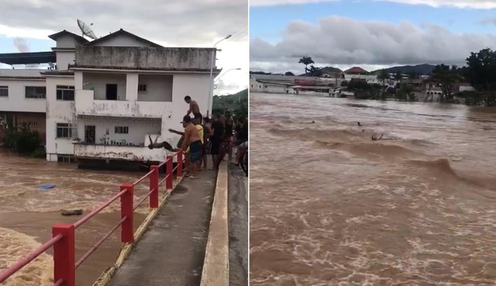 Imagens mostram o momento em que os quatro jovens pularam no rio Muriaé durante a cheia em Itaperuna, mas um deles não conseguiu sair — Foto: Reprodução redes sociais
