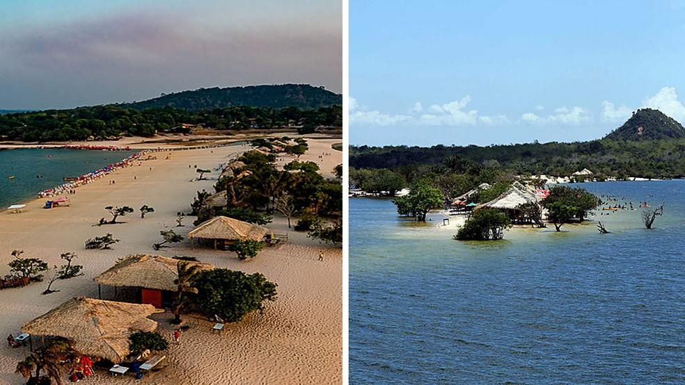 Ilha do Amor, na seca e na cheia — Foto: Secretaria de Turismo do Pará