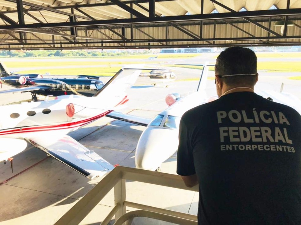Operação no Aeroporto da Pampulha, em Belo Horizonte — Foto: Polícia Federal/Divulgação
