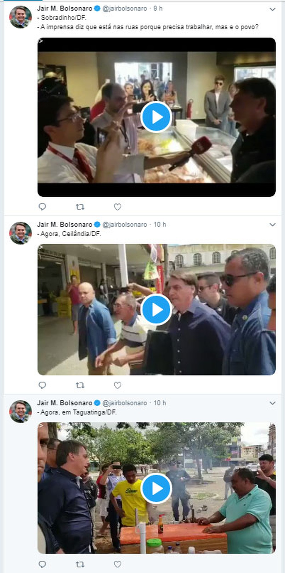 IMAGEM DOS POSTS ANTES DE SEREM APAGADOS - Twitter apaga tuítes de Bolsonaro com vídeos em Sobradinho e em Taguatinga por violarem regras da rede social — Foto: Reprodução/Cache do Google