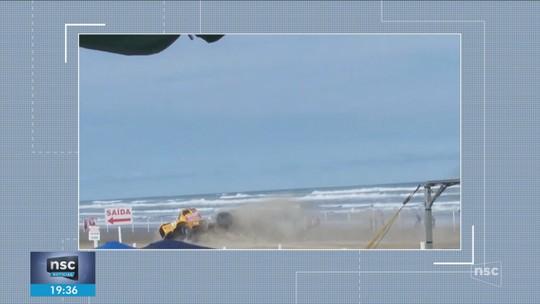 Piloto de arrancadão ferido em acidente durante prova é transferido para UTI em Criciúma