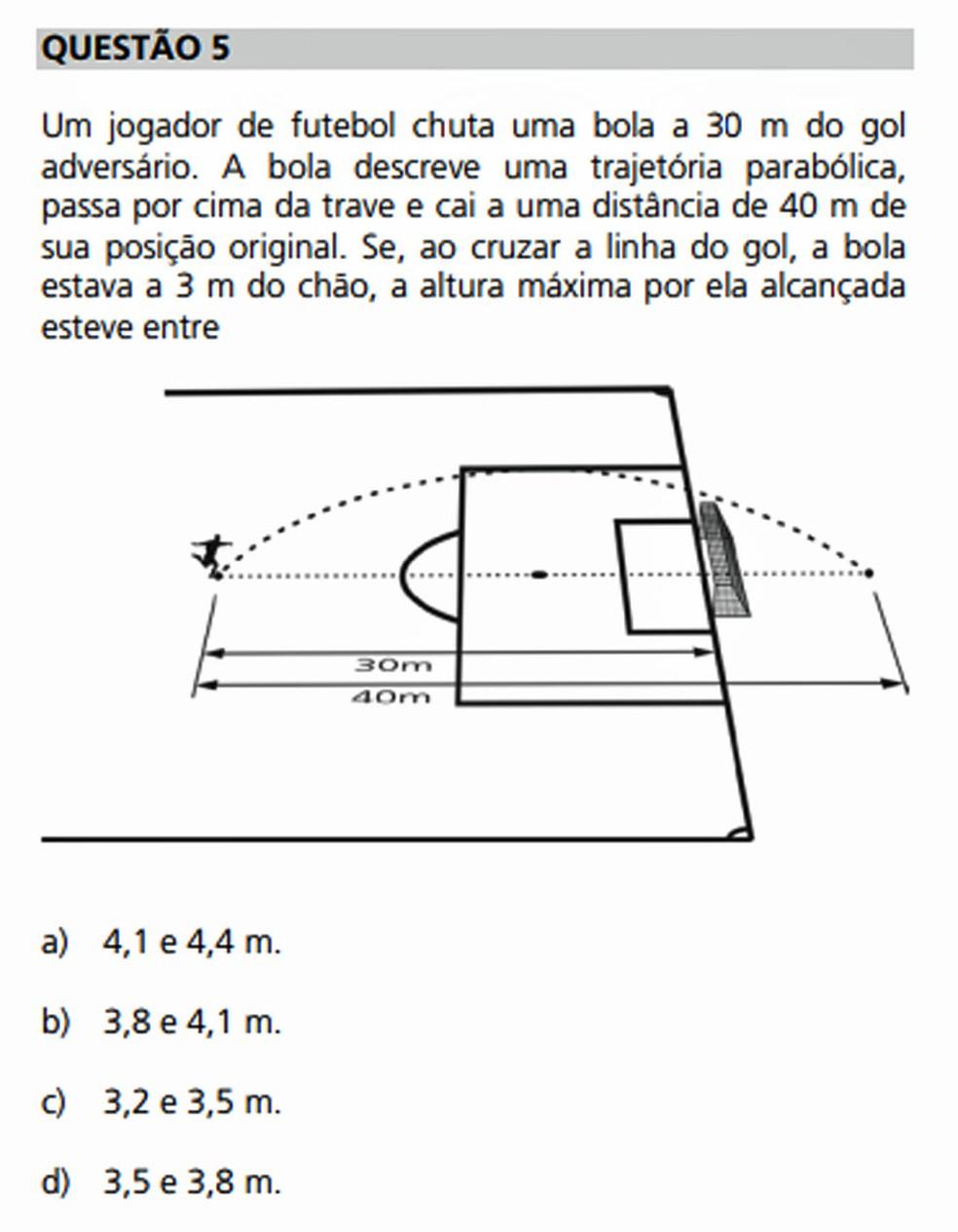 Na Unicamp 2012, os candidatos receberam o alcance da bola e uma das alturas na trajetória dela, e precisaram calcular a altura máxima da parábola (Foto: Reprodução/Comvest)