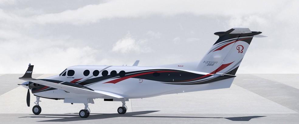 Modelo do King Air 260 que caiu em Piracicaba, segundo a fabricante — Foto: Beechcraft/divulgação