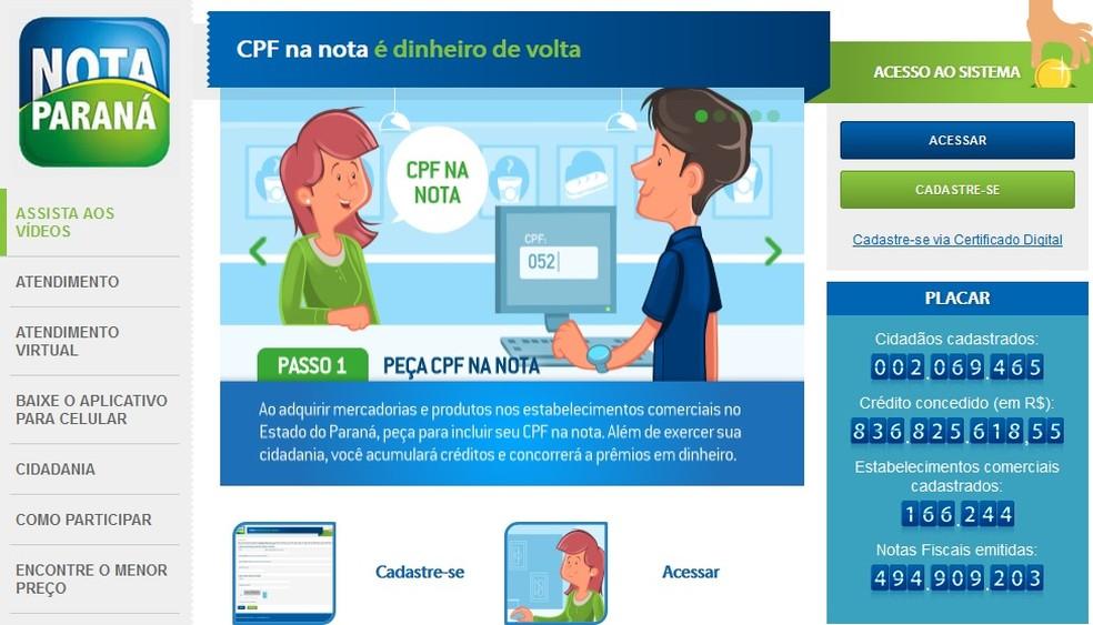 'Nota Paraná' é um programa do governo estadual — Foto: Reprodução