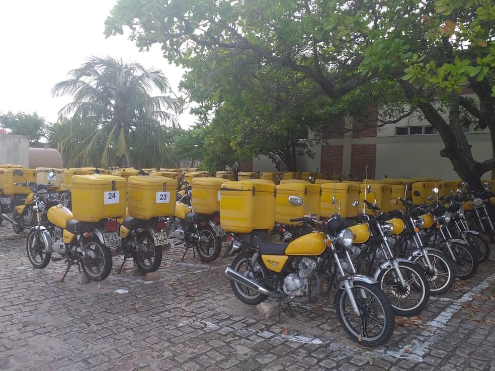 Correios leiloam 90 motocicletas em Natal — Foto: Divulgação