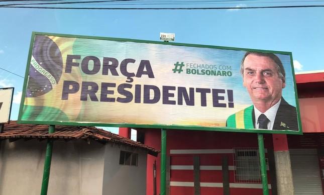 Outdoor em apoio ao presidente Jair Bolsonaro