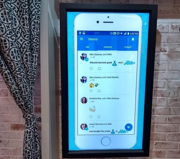 Tela mostra as ferramentas sociais do Venmo, do PayPal (Foto: Época Negócios)
