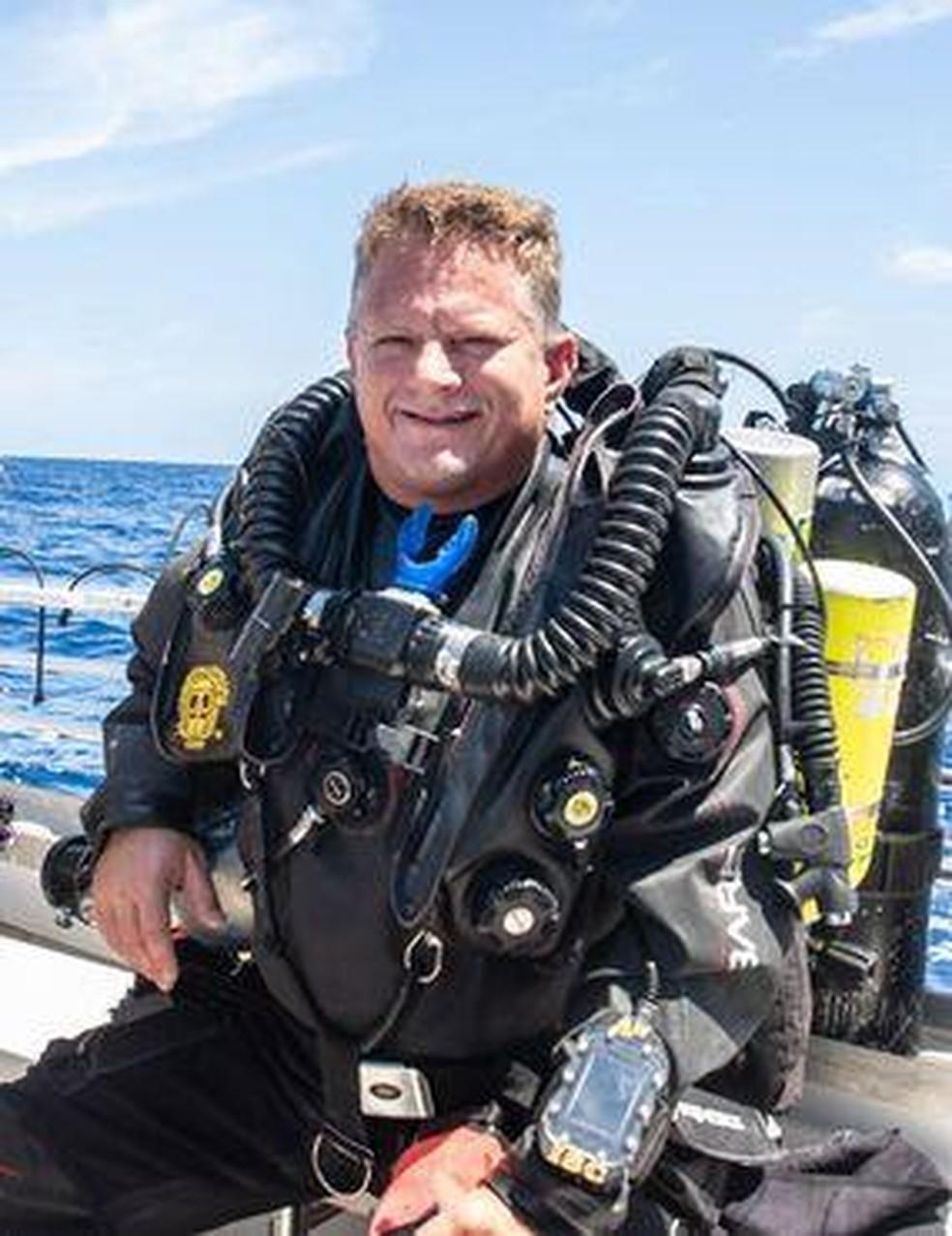 Marty Watson, da Watson Tech Training, foi um dos mergulhadores altamente especializados a entrar no Green Banana — Foto: Marty Watson