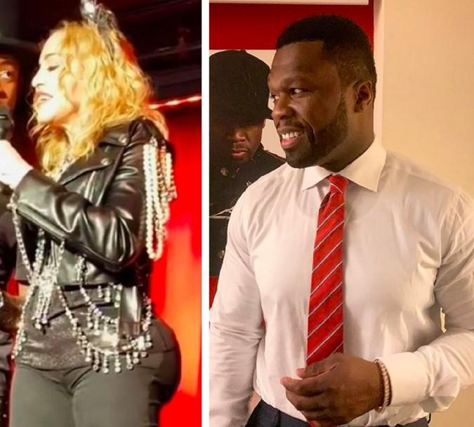 A cantora Madonna no registro que fomentou os boatos sobre seus supostos implantes no bumbum e o rapper 50 Cent (Foto: Instagram)