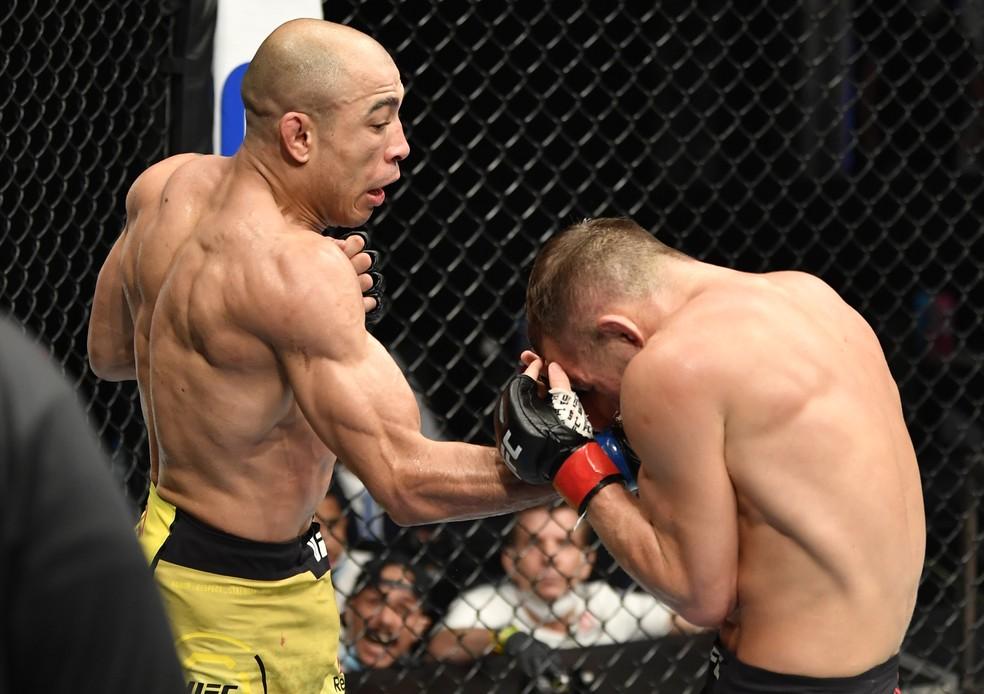 José Aldo vem de derrota para Petr Yan, em luta pelo cinturão no UFC 251, em julho, na Ilha da Luta — Foto: Getty Images