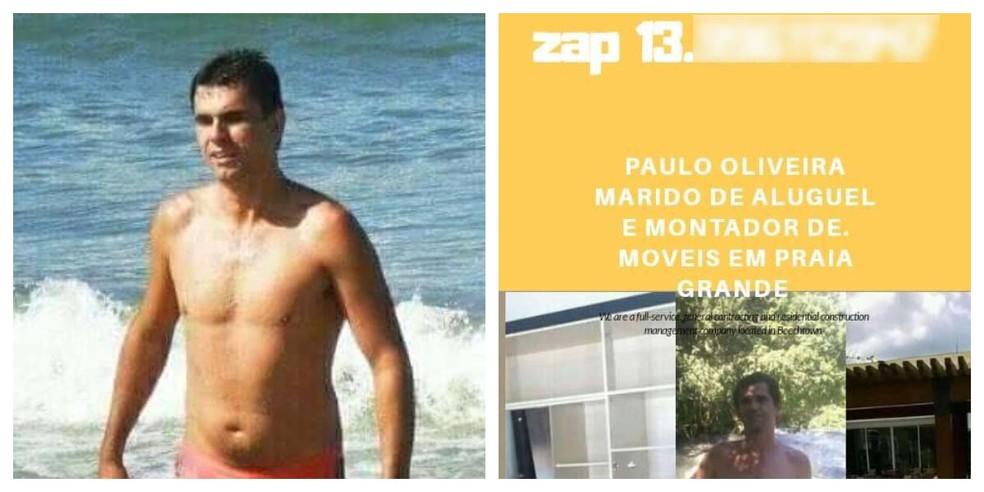 Paulo fazia postagens no próprio perfil sobre os serviços prestados como 'marido de aluguel' em Praia Grande, SP — Foto: Reprodução/Facebook