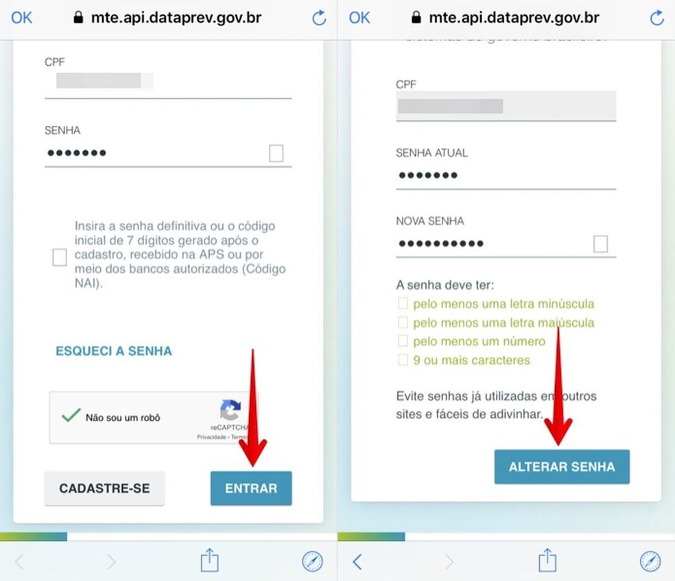 Faça login na sua conta e altere a senha no portal Cidadão.br — Foto: Reprodução/Helito Beggiora