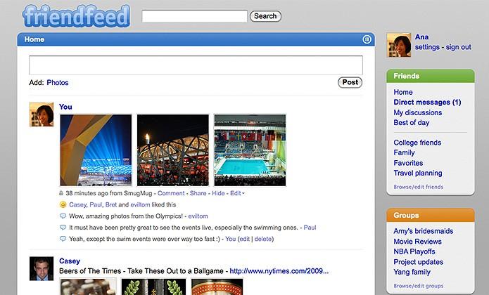 O FriendFeed é um serviço de compartilhamento online adquirido pelo Facebook em agosto de 2009 (Foto: Reprodução/FriendFeed)