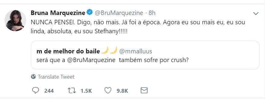 Tweet de Bruna Marquezine (Foto: Reprodução/Twitter)