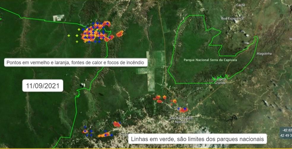 Áreas com focos de incêndio neste sábado (11) — Foto: Divulgação /Corpo de Bombeiros