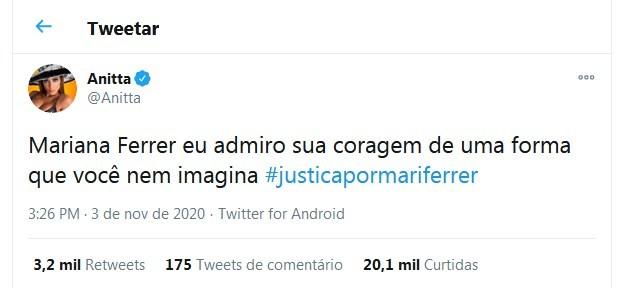 Anitta posta sobre Mariana Ferrer (Foto: Reprodução/Twitter)