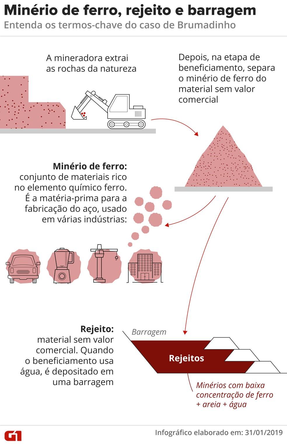 Entenda o que é minério de ferro, rejeito e barragem — Foto: Alexandre Mauro/G1