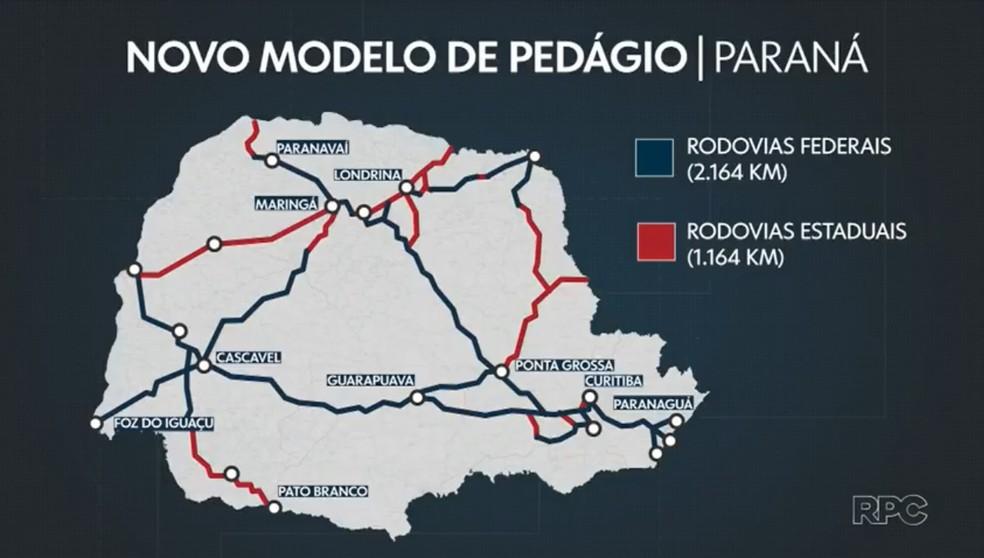 Novo modelo de concessão de pedágio das estradas no Paraná abrange 2,1 mil km de rodovias federais e 1,1 mil km de rodovias estaduais — Foto: Reprodução/RPC
