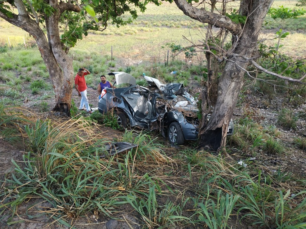 Carro ficou completamente destruído após o impacto na árvore — Foto: Divulgação/Polícia Rodoviária Federal