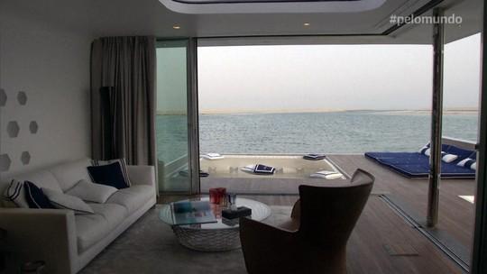 Pelo Mundo: Casa flutuante em Dubai tem mordomias de hotel cinco estrelas