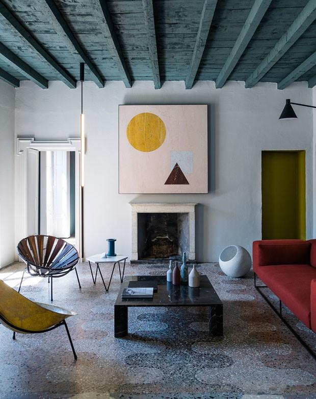 Décor do dia: sala de estar geométrica e cheia de tendências (Foto: Giorgio Possenti)