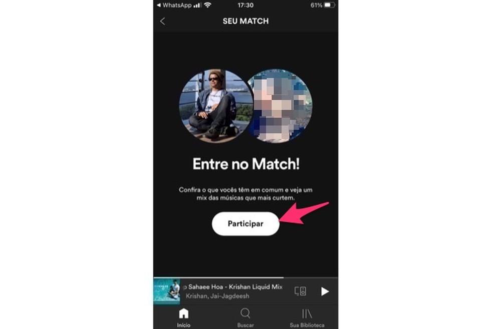 Ação que a pessoa precisa realizar para participar da playlist Match após receber um link de convite — Foto: Reprodução/Marvin Costa