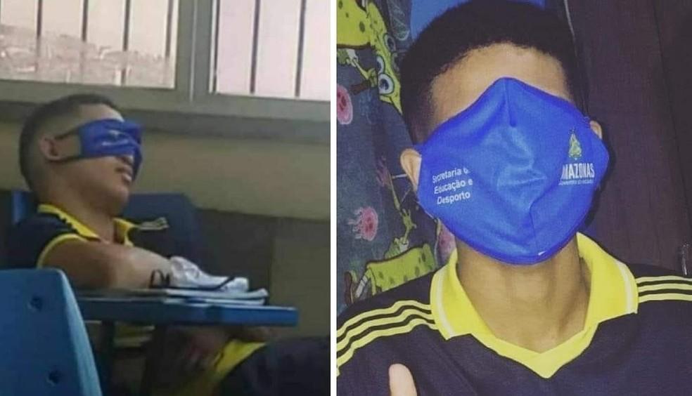 Tamanho de máscara distribuída pelo governo viralizou nas redes sociais. — Foto: Reprodução/Redes Sociais