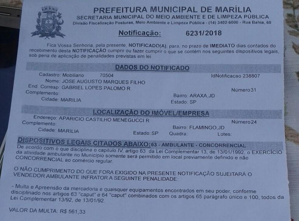 José recebeu a notificação da prefeitura no final de março (Foto: Arquivo pessoal)