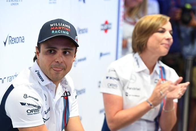 Felipe Massa ao lado de Claire Williams, chefe da Williams (Foto: Divulgação)