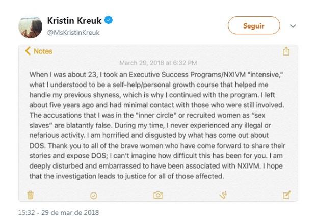 O tweet de Kristin Kreuk negando seu envolvimento no escândalo (Foto: Reprodução Twitter)