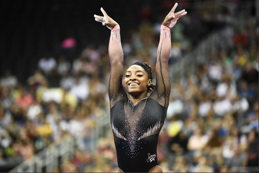 Simone Biles campeã EUA ginástica artística — Foto: Twitter/USAGym