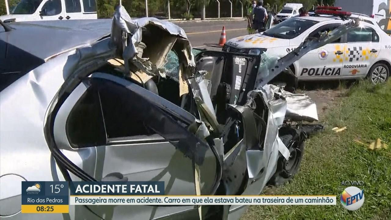 Acidente entre carro e caminhão termina com uma vítima fatal entre Indaiatuba e Salto