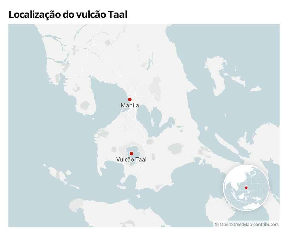 Mapa com a localização de Taal, nas Filipinas, e de Manila, a capital do país — Foto:  G1