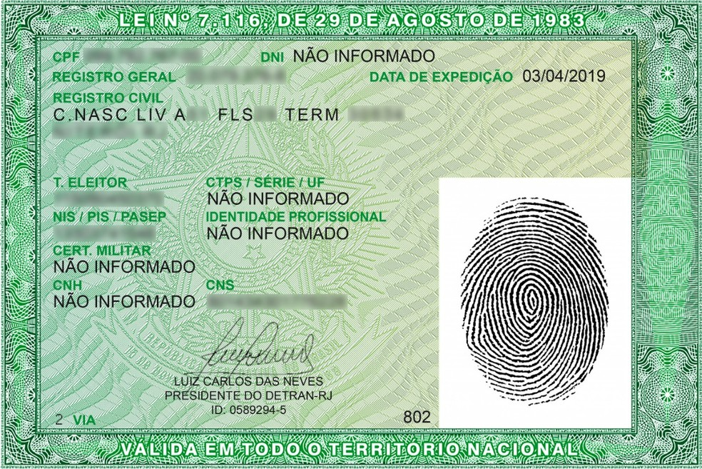 Novo modelo da carteira de identidade. — Foto: Divulgação/Detran-RJ
