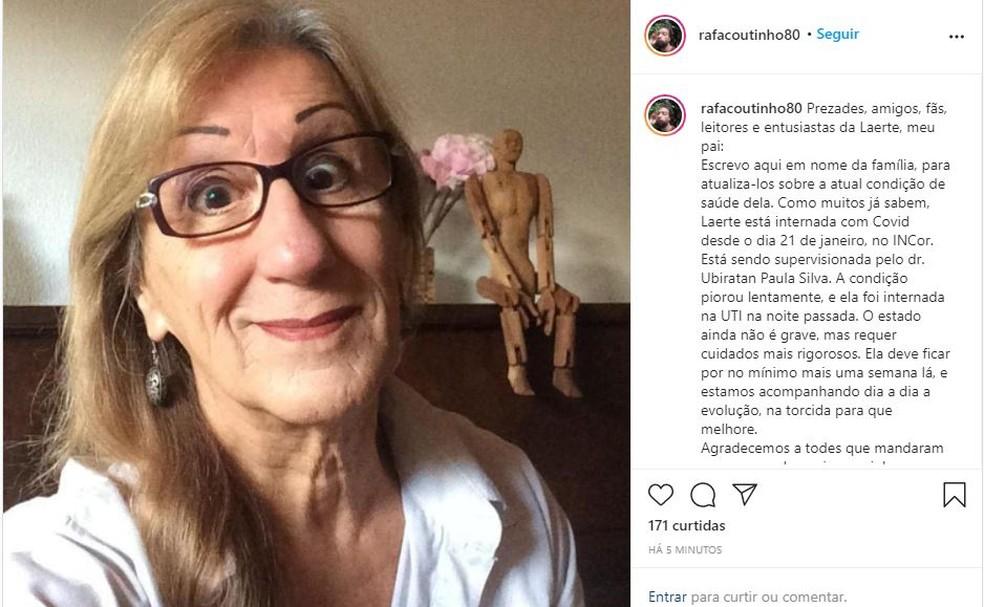 Rafael Coutinho, filho da cartunista Laerte Coutinho confirma pelo Instagram que ela está internada com Covid-19. — Foto: Reprodução/Instagram