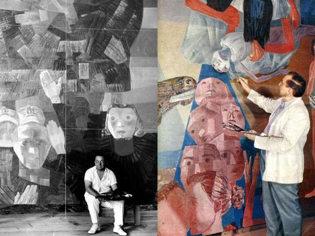 """Candido Portinari pintando """"Guerra"""" e """"Paz"""", em 1955 (Foto: Renata Frank/Acervo Projeto Portinari)"""