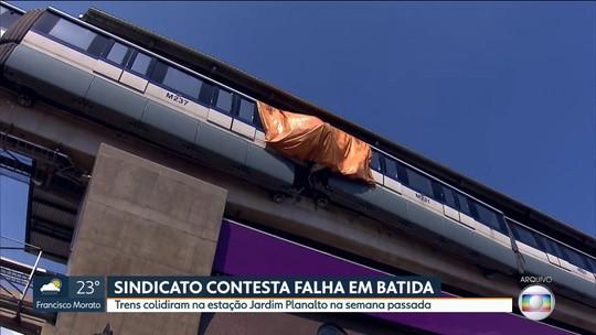 Sindicato dos Metroviários contesta falha humana em batida de trens do monotrilho da Linha 15-Prata