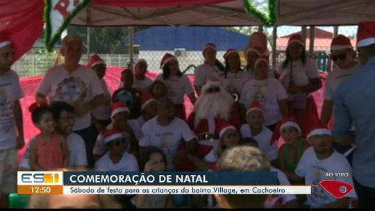 Crianças do bairro Village, em Cachoeiro, recebem festa com Papai Noel