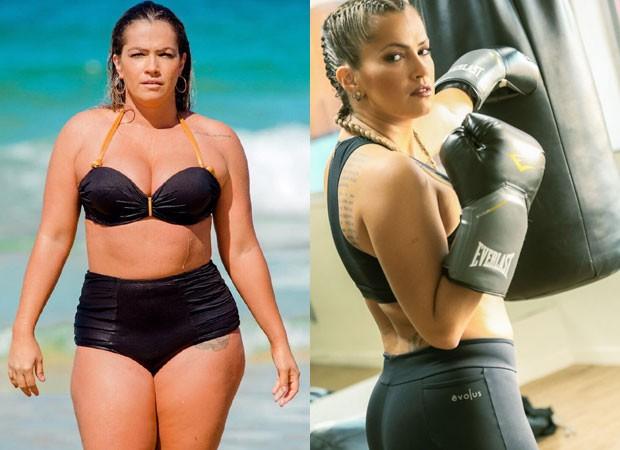 O antes e depois de Fani Pacheco, que perdeu 15 quilos (Foto: Reprodução Instagram e Gustavo Azeredo/Divulgação)