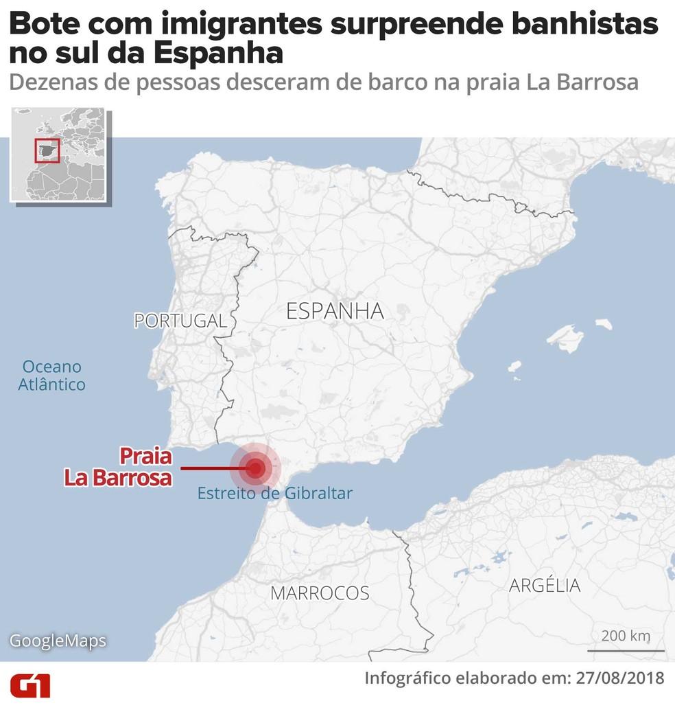 Bote com dezenas de imigrantes surpreende banhistas na Espanha (Foto: Infografia: Alexandre Mauro/G1)