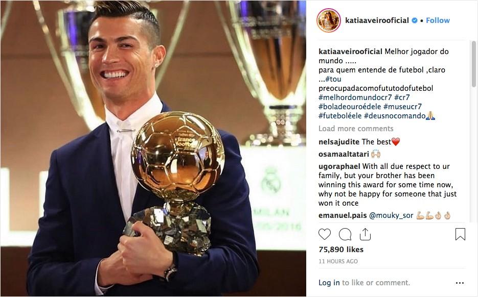 O post de Katia Aveiro lamentando a derrota do irmão Cristiano Ronaldo no prêmio Bola de Ouro 2018 (Foto: Instagram)