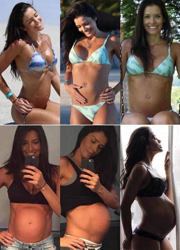 Evolução da terceira gravidez de Talula Pascoli do 4º ao 9º mês (Foto: Reprodução/Instagram)
