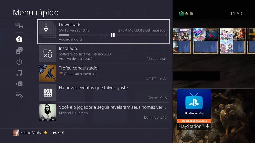 Menu rápido foi repaginado no PS4 (Foto: Reprodução/Felipe Vinha)