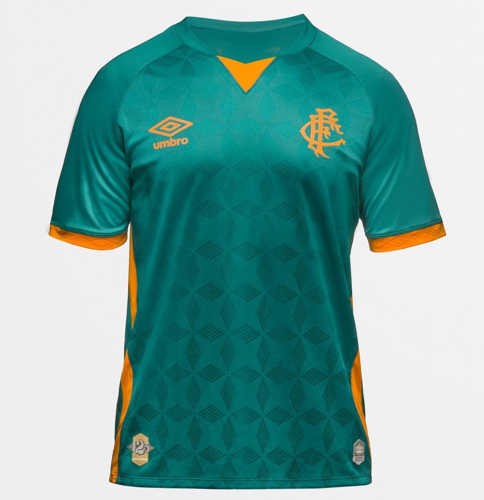 Nova camisa 3 do Fluminense é verde e laranja — Foto: Divulgação / Fluminense