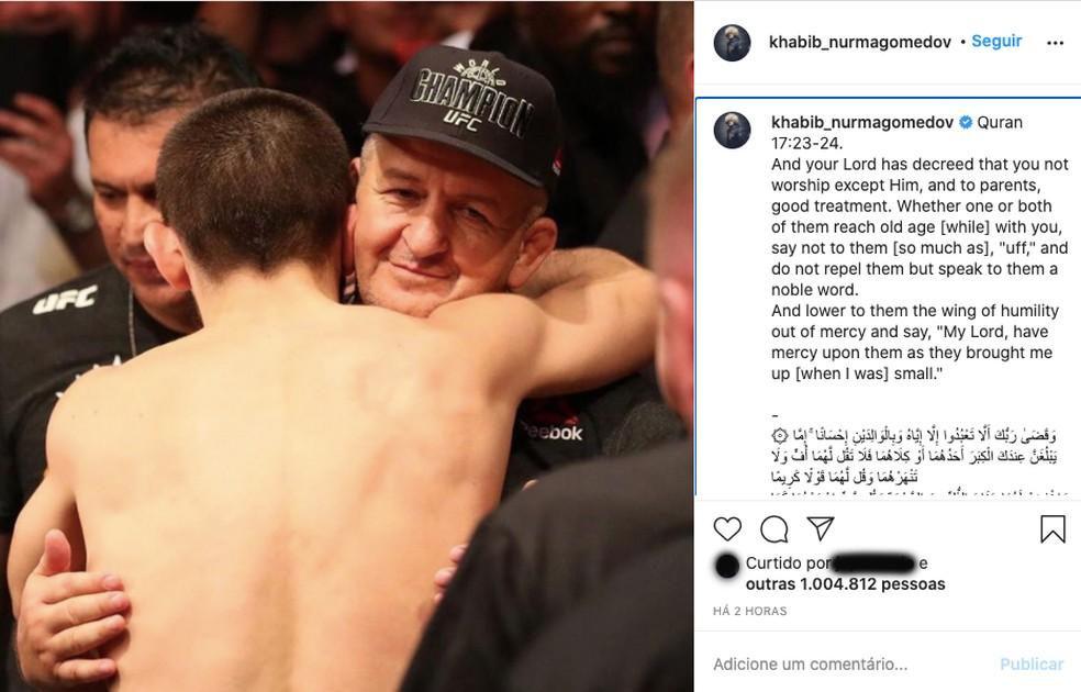 A mensagem publicada por Khabib Nurmagomedov no Instagram em homenagem ao seu pai — Foto: Reprodução/Instagram