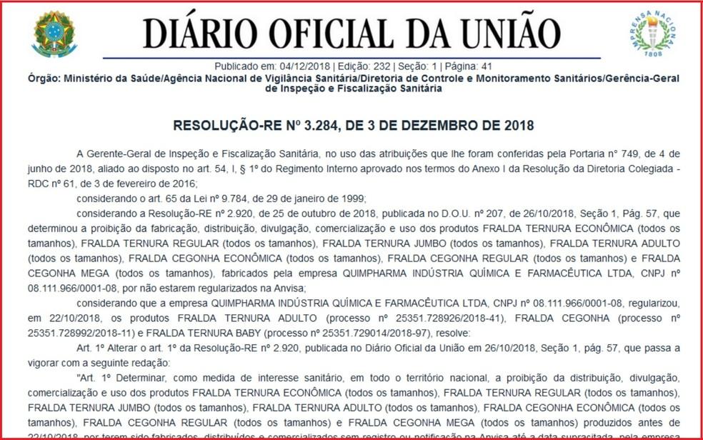 Resolução da Anvisa publicada no Diário Oficial sobre proibição da venda de fraldas Ternura e Cegonha — Foto: Reprodução