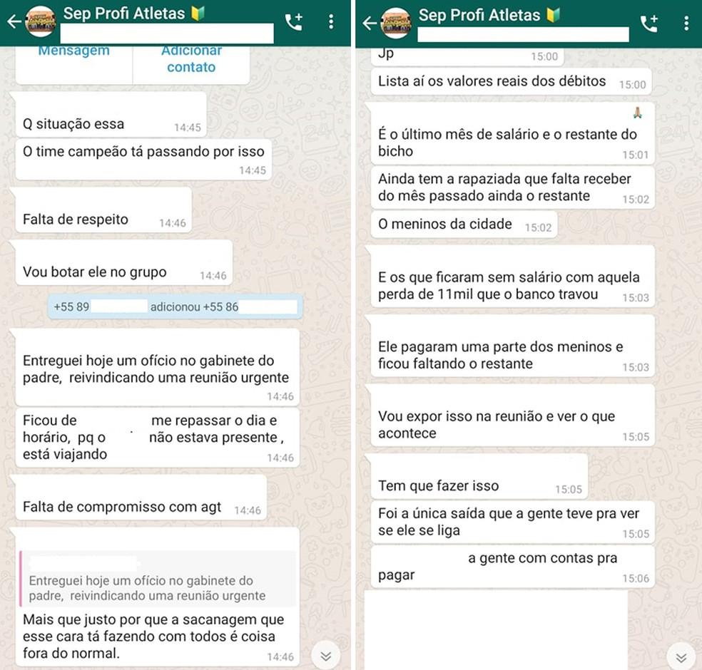 Jogadores do Picos desabafam em grupo no Whatsapp — Foto: Reprodução
